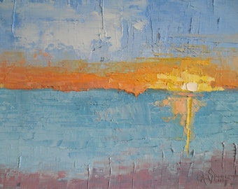 """Abstract Seascape, Abstract Sunset, Palette Knife Painting, 9x12x.75"""" Oil, Free Shipping in USA"""