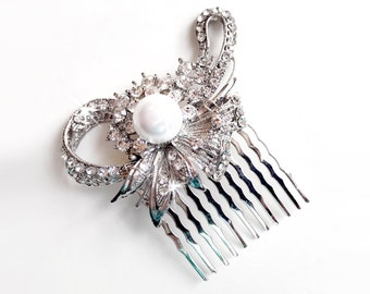 Comb - Crystal Flower Hair Comb - Floral Pearl Bridal Comb - Vintage Style Hair Piece - Silver Rhinestone Brooch Comb - Pearl Hairpiece