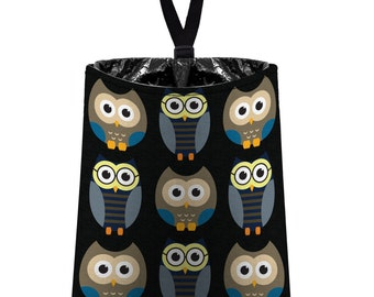 Car Trash Bag // Auto Trash Bag // Car Accessories // Car Litter Bag // Car Garbage Bag - Owls - Midnight black blue grey // Car Organizer