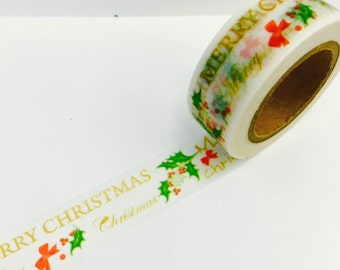 Merry Christmas Holly Holiday Winter Seasonal Paper Washi Tape Scrapbooking Decorate Sticker