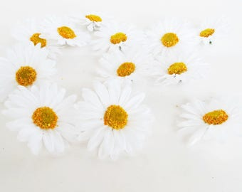 """Lot of Daisies 150 Artificial Daisy Silk Flowers White Chamomile yellow center 2.6"""" Floral Hair Accessories Flower Supplies Faux Fabric"""