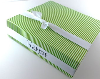 Photo Album Boy Baby Memory Book Personalized Baby Photo Scrapbook Pinstripe Stripe Custom baby Shower Gift 4x6 5x7 8x10 Picture Green White