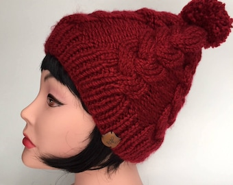 PATTERN: Knit Plaited Cable Hat Pattern PDF, 2 sizes, Regular and Large, Knit Cable Hat Pattern, Digital Download