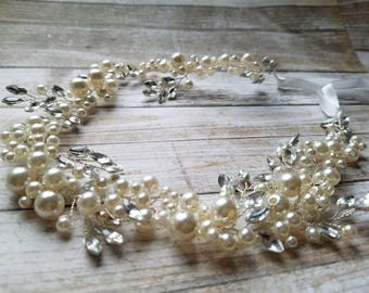 SALE - Wedding Headband, Crystal Rhinestone & Pearl Headband- Style H3025