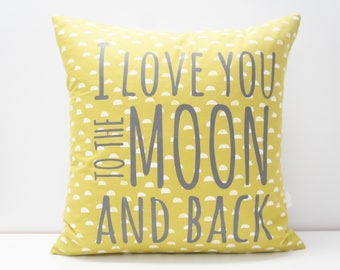 Pillow Cover - I love you to the moon and back Pillow Cover, 20x20,  lime green dots