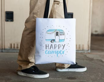 Totes with Sayings, Happy Camper, Cute Tote Bag, Totes with Words, Sea blues, long handles, Watercolor Art, Inspiration, For Women, Girls