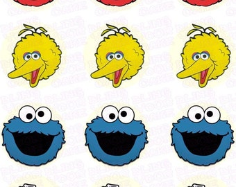 Sesame Street-Inspired Fun Faces Edible Icing Cupcake Decor Toppers featuring Elmo, Big Bird, Cookie Monster & Oscar the Grouch