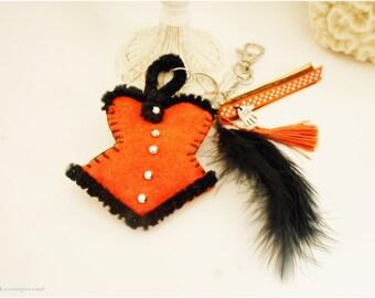 Porte clefs  Sorcières d'Halloween, porte clé Corset bustier feutrine orange et noir, accessoire décoration Halloween, bijou de sac sorcière
