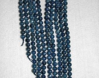 Kyanite, Blue Kyanite, Grade A, Blue Kyanite Bead, Smooth Bead, Natural Stone, Semi Precious, Blue Bead, Half Strand, 8mm, AdrianasBeads