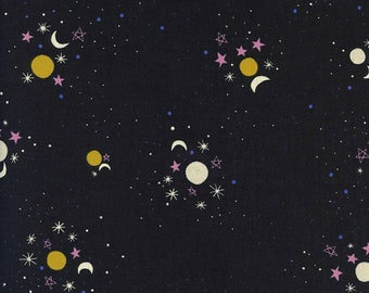 Cotton + Steel Eclipse - Sun Moon Stars in Black - Unbleached Quilting Cotton - Fabric by the Yard - Celestial Sky Fabric
