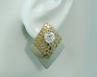 EARRING JACKETS, Two Tone Silver and Gold Ear Jackets, Jacket for Studs, Jackets for Post Earrings, 2 Tone Double Diamond Sparkle JTTDDSPARK