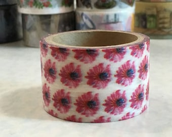 1 Roll of Japanese Washi Tape Roll- Red Flower