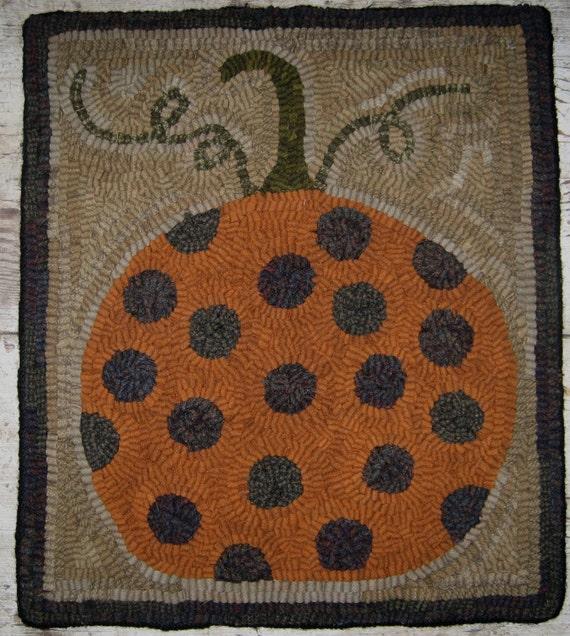 Rug Hooking Designs Primitive: Primitive Rug Hooking Pattern-Polka Dot Pumpkin