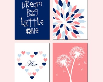 Navy and Coral Nursery Decor Navy and Coral Nursery Art Navy and Pink Nursery Art Navy and Pink Nursery Decor Baby Girl Nursery Art Set of 4