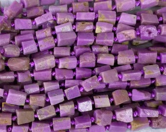 """Natural Genuine Raw Mineral Purple Phosphosiderite Hand Cut Nugget Free Form Loose Rough Matte Faceted Beads 5-7mmmm 15.5"""" 05364"""