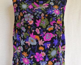 Dress floral silk 60/70's