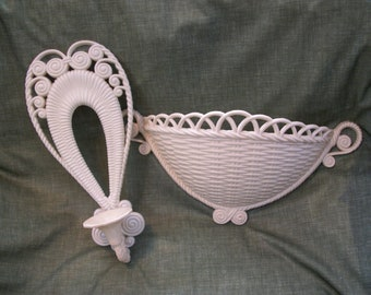 Burwood Products Wall Decor Basket and Sconce 1973 1975