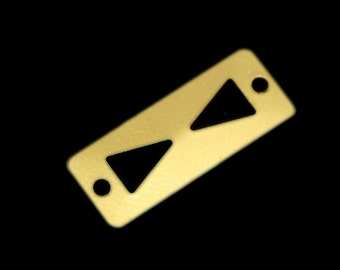 80 pcs 8x20 mm raw brass rectangle tag 2 hole raw brass connector charms ,raw brass findings 160R-48