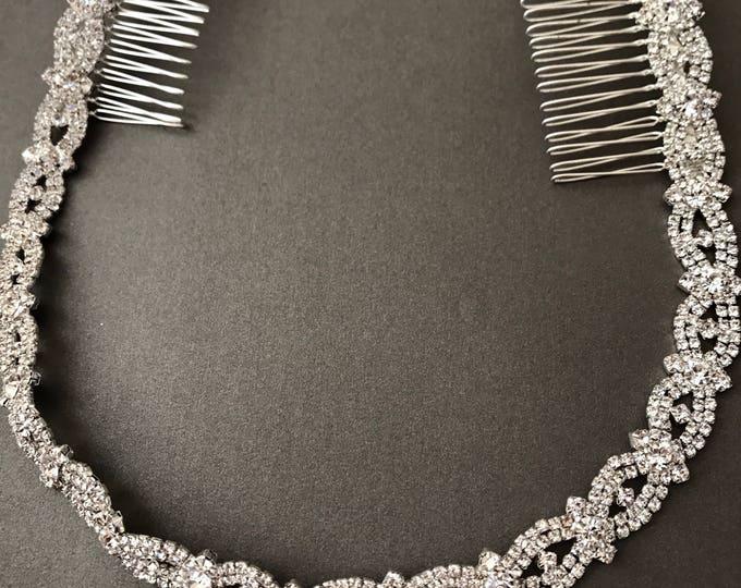 Silver Wedding Headband, Bridal Headpiece, Rhinestone Headband, Hair Tiara, Hair Jewelry, Bridesmaid, Hair Accessory B24