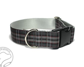 """Silver Pride of Scotland Tartan Dog Collar / 1.5"""" Wide(38mm) / Gray Plaid / Choice of style and size - Martingale Dog Collar or Side Release"""