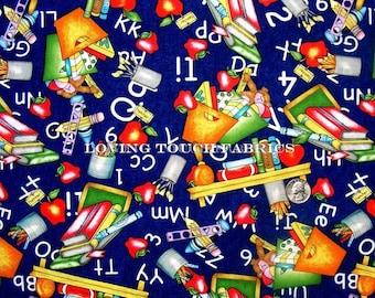 "Lovely Teacher School Supplies Alphabet Apples Books Cotton Fabric 1/2 yard 18"" x 44"""