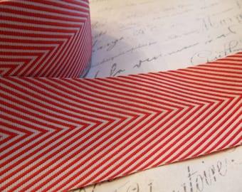 Twill Red and White 1.5 inch Woven Chevron Ribbon Trim