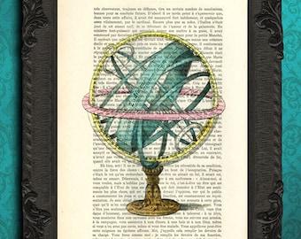armillary sphere print astronomy lovers armillary sphere antique illustration