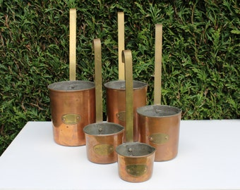 A set of 5 FRENCH, vintage, copper MEASURING JUGS.