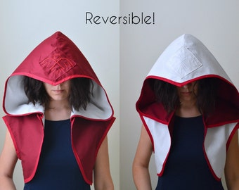 Reversible Assassin Cropped Jacket Shrug Vest with Oversized Hood - Choose your colors!