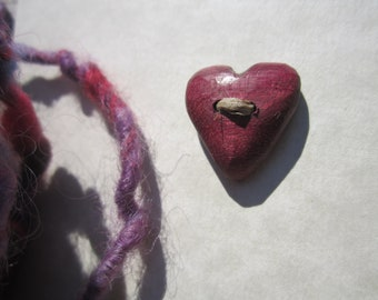 2 Small Heart Buttons Purple-  in Reclaimed Purpleheart- Wooden Button- Knitting, Sewing, Craft Buttons