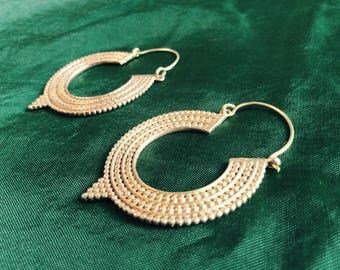 Brass Gold Tribal Hoop Earrings, Indian Brass Earrings, Tribal Hoops, Gypsy Earrings, Boho Indian Brass Gold Earrings