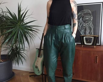 Real leather baggy pants