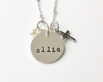 Baptism Necklace, Baptism Jewelry, Adult Baptism Gift, Christian Necklace, Cross and Name Necklace, Personalized Cross Necklace, Baptism