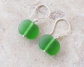 Green earrings. Glass beads made from a beer bottle. Recycled glass, upcycled jewelry. Perfect everyday earrings, great gift for her.