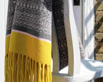 Fair Isle Scarf, Fair Isle Blanket, Blanket Scarf, Scandi, Knitted Wrap 100% Lambs wool, grey, light pink, yellow, tassels, luxury, shawl