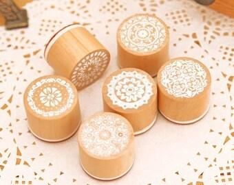 Stamp wood retro lace pattern