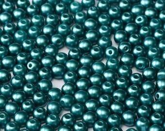 Czech Glass Druk, 4mm Round, approx 50 beads, Pastel Emerald