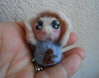 Mini baby blue felted wool.