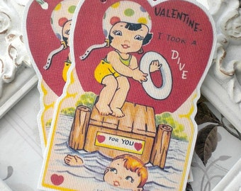 Took a Dive Valentine Gift Tags (6) Valentine Favor Tags-Valentine Treat Tags-Classroom Valentine-Kids Valentine Cards-Retro Valentine Card