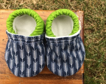 Baby Shoes for Boys - Dark Blue Fabric with Arrow End Pattern and Green Solid - Custom Sizes 0-3 3-6 6-12 12-18 18-24 months 2T 3T 4T