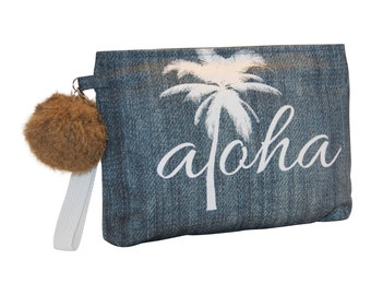 Den'm Inspired Aloha Palm Tree wristlet pouch, Waterproof lined, Made in Hawaii