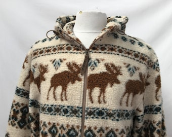 Moose Print Zip Up Fleece