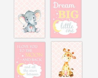 Baby Girl Nursery Art Safari Animals Elephant Giraffe Safari Jungle Animal Print Dream Big Love You To The Moon Baby Nursery Decor