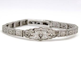 Sterling Silver Bracelet with CZ Vintage Elegant Antique art deco