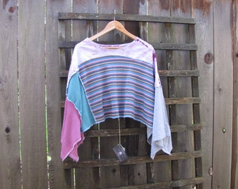 Upcycled Asymmetrical Lagenlook Boho Hippie Poncho Funky Romantic Cape Cover Up/Eco Sweater Shawl/Striped Tie Dye Patchwork Ponchos One Size
