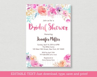 Floral Bridal Shower Invitation / Floral Bridal Shower Invite / Watercolor Floral Invite / Pink Floral / Editable PDF INSTANT DOWNLOAD B100