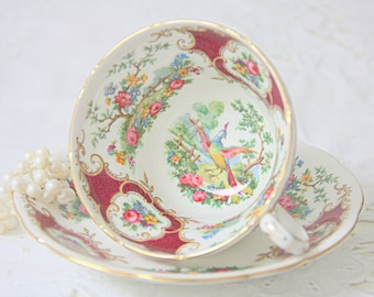 Vintage Coalport Bone China Teacup and Saucer, Broadway Marone Pattern, England