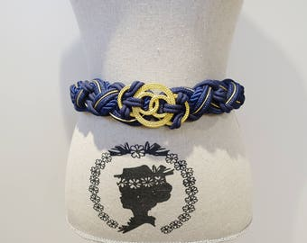 Vintage 90s Braided Navy and Gold Weave Statement Belt