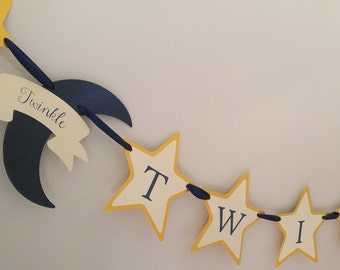 Twinkle, Twinkle Little Star Banner Baby Shower Decor with Stars and Crescent Moon