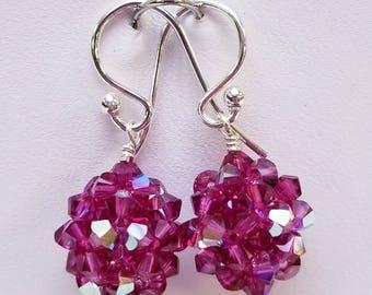 Fuchsia AB, Swarovski,  Crystal Ball, woven, Sterling silver, earrings, Pink, Purple, Fuchsia